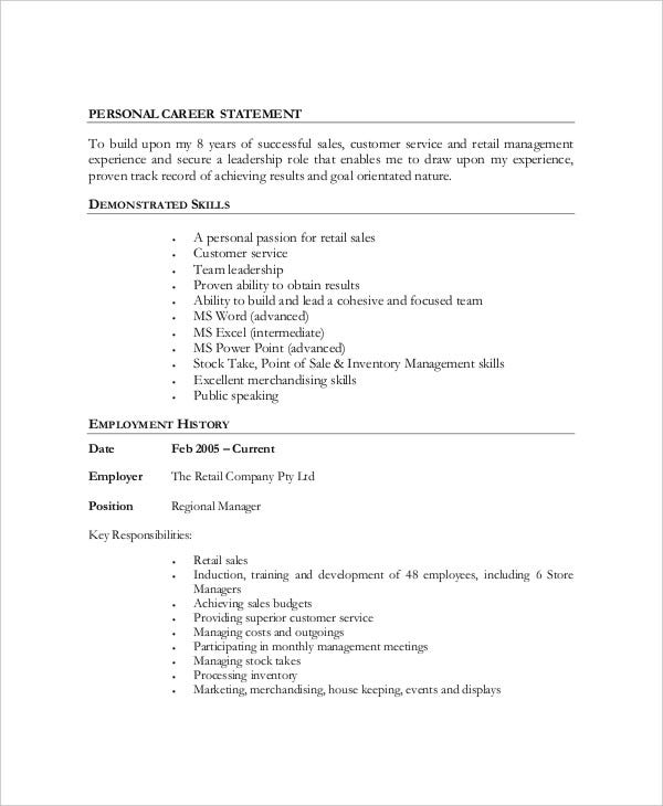 retail executive work resume