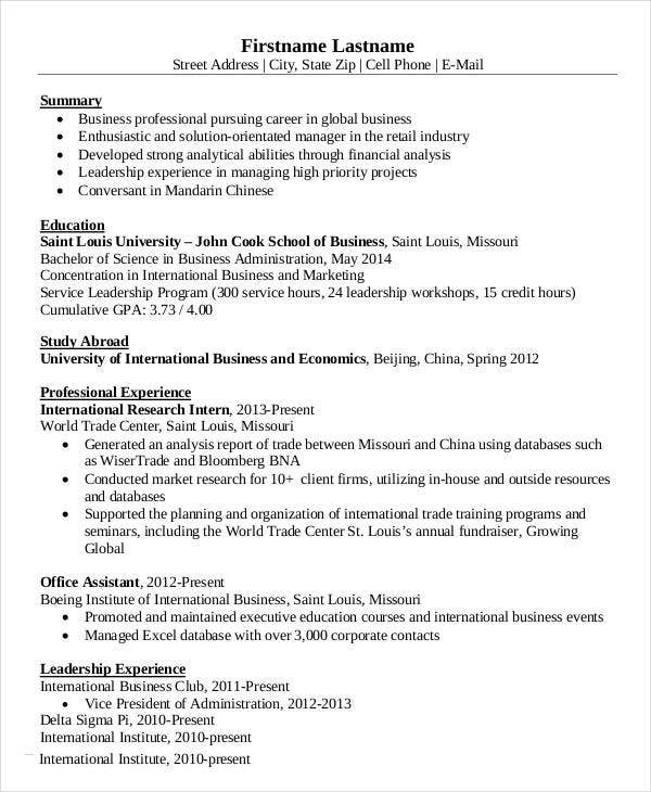 International Business Management Resume. International Business Resume