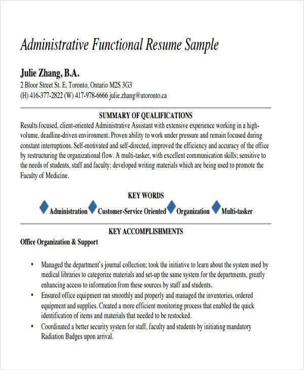 administrative work resume sample - Sample Work Resume