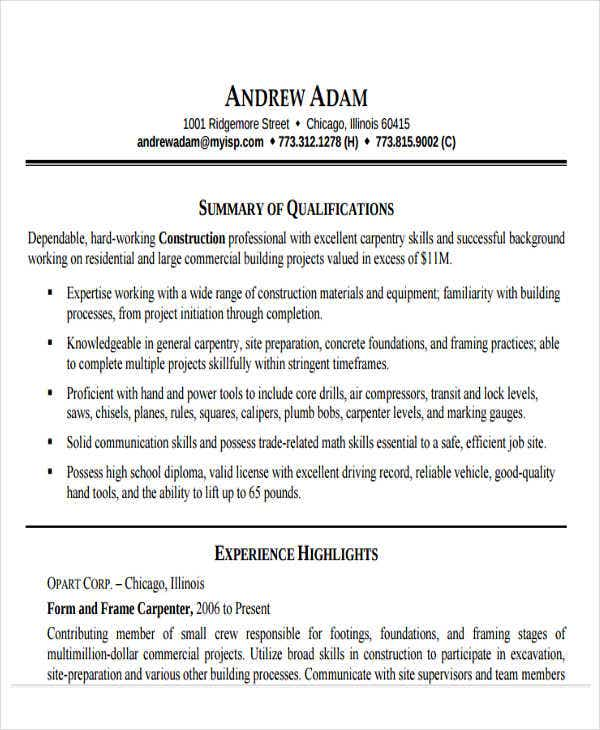 sample construction work resume