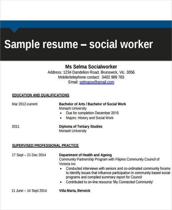 sample social worker resume - Social Work Resume Template