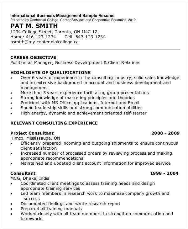 International Business Management Resume Sample