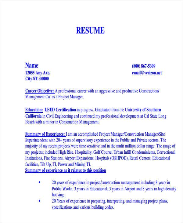 construction manager work resume1