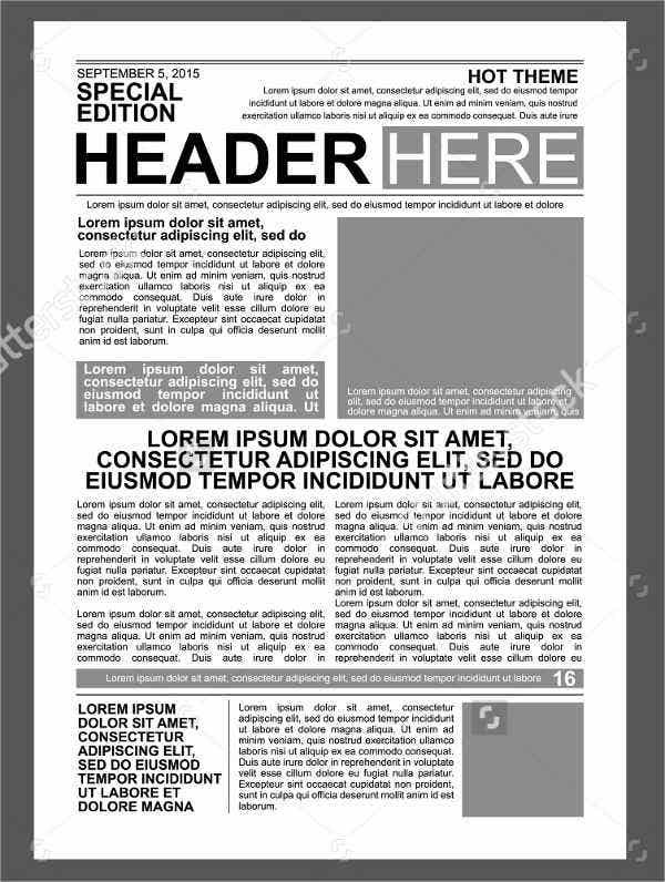picture relating to Printable Newspaper Template identify 52+ Printable Newspaper Templates - PSD, Apple Webpages