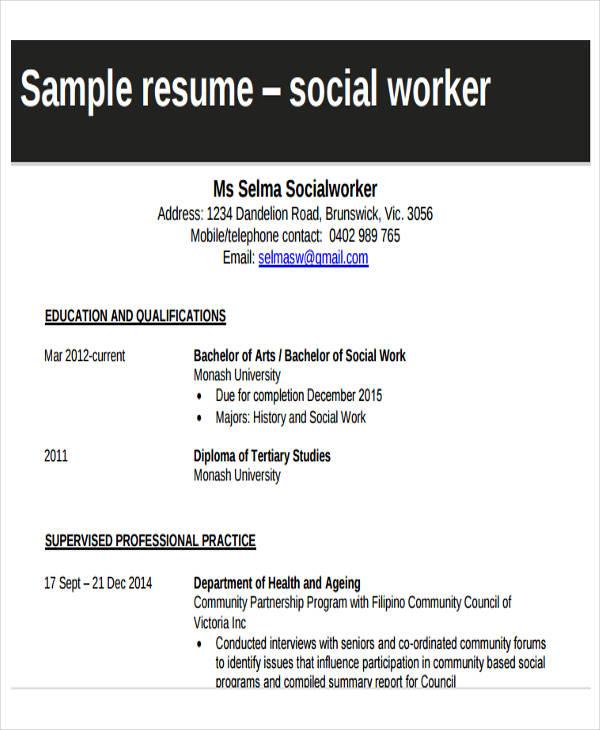 Social Work Resume  BesikEightyCo