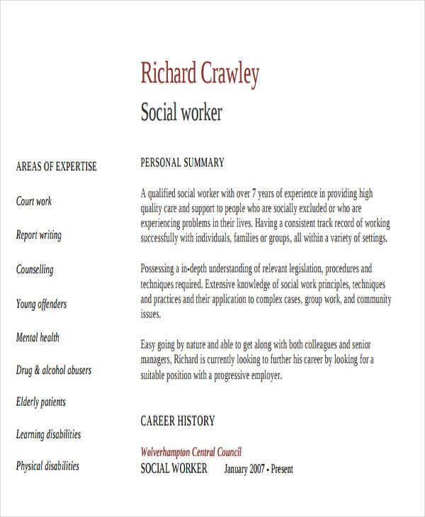 professional social work resume professional work resume