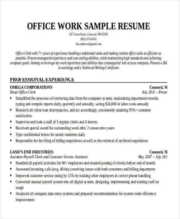 office work resume sample1
