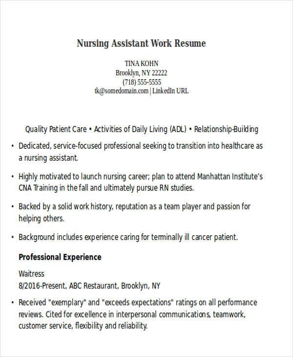 nursing assistant work resume