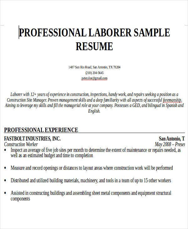 construction worker work resume1