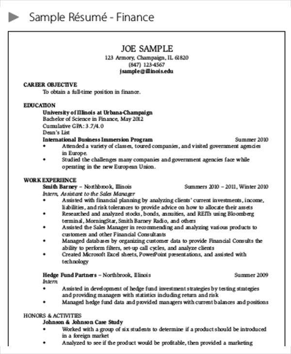 Free Sample Finance Resume  Finance Objective Resume