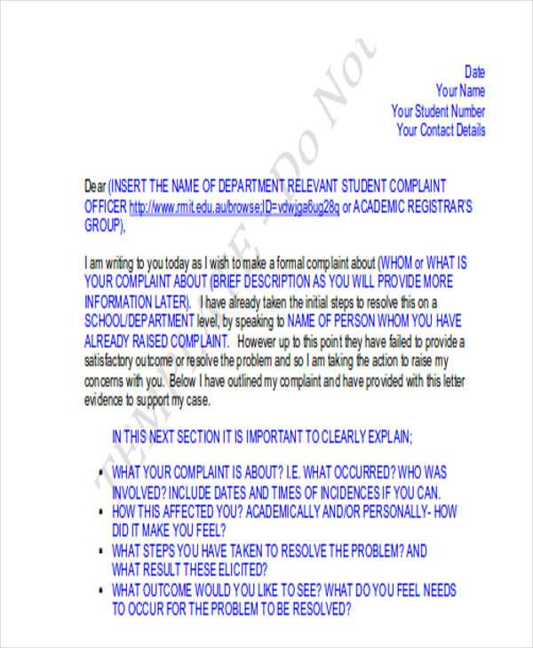 student loan complaint letter