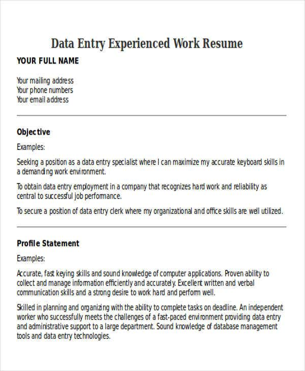 data entry experienced work resume