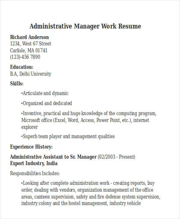 administrative manager work resume3