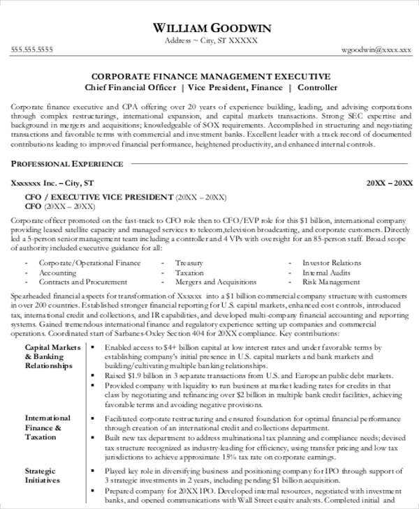sample corporate finance resume