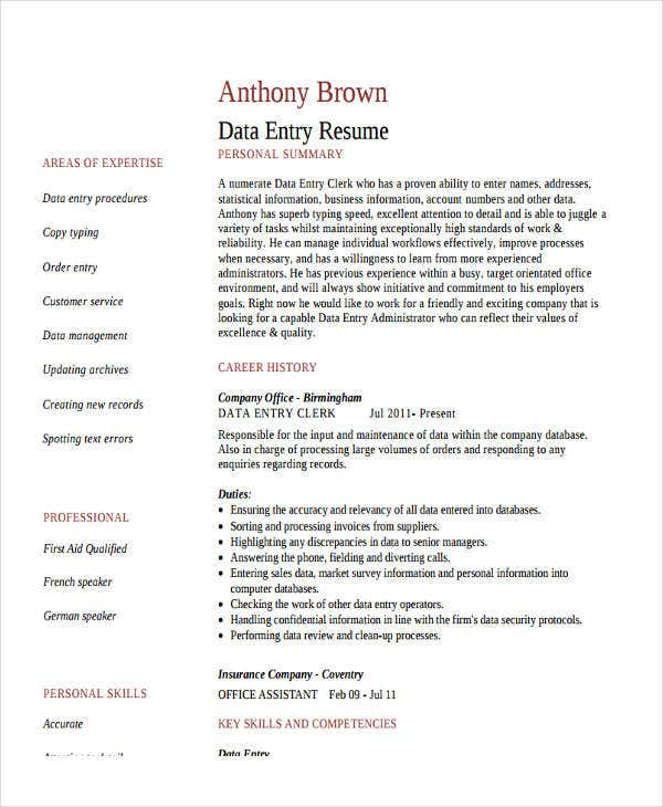 data entry clerk work resume2