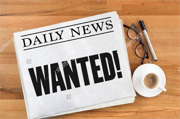 newspaper wanted poster template