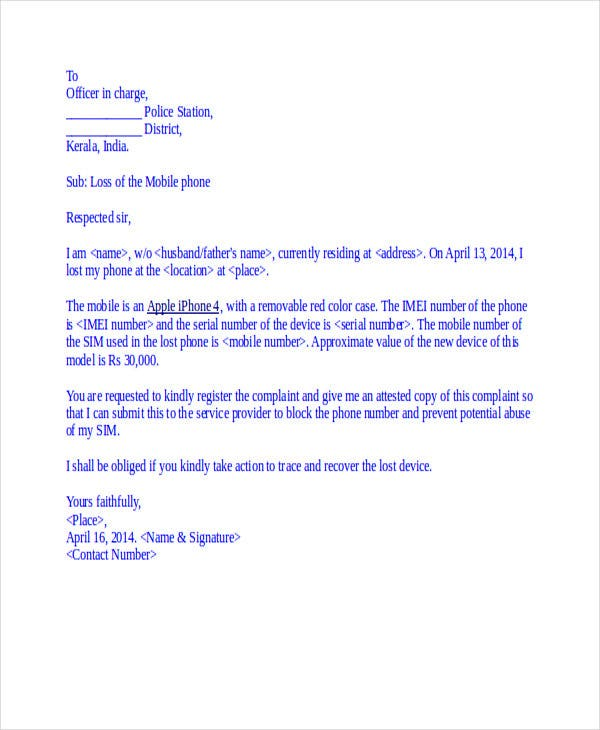 Complaint Letter To Police Station For Lost Of Mobile