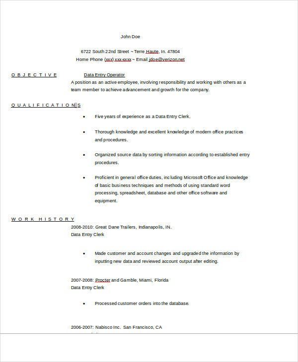 26 free work resume templates free word pdf documents