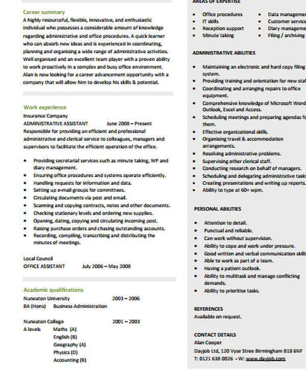 26 Blank Work Resume Templates – Resume Template for Administrative Position