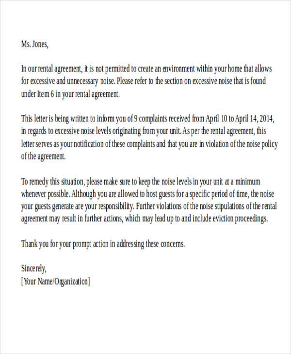 tenant noise complaint letter