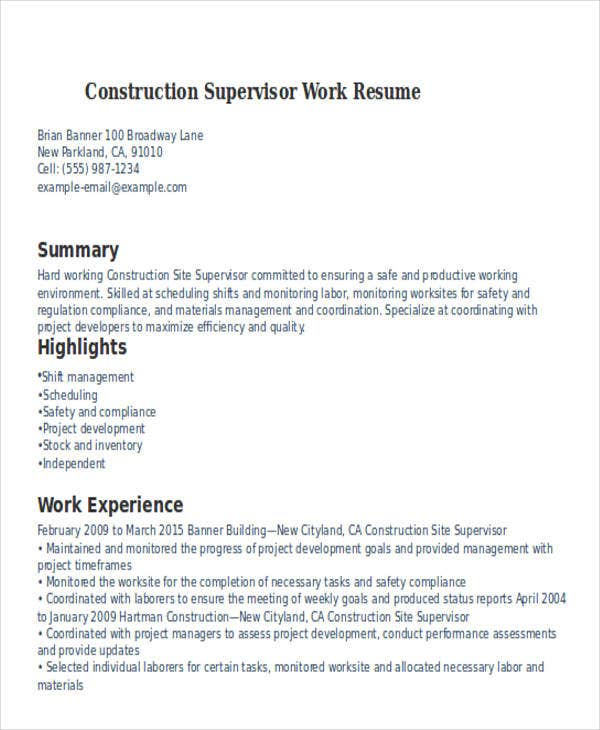 construction supervisor work resume myperfectresumecom - Working Resume Template