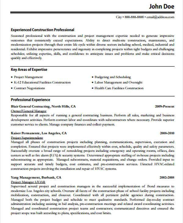 sample construction work resume1
