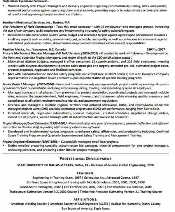 construction project manager work resume1