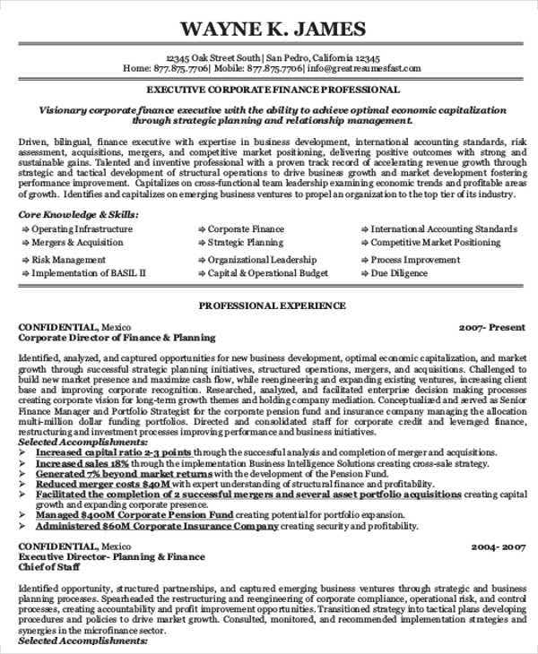 corporate finance executive resume3