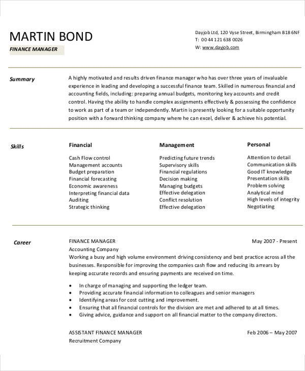 corporate finance manger resume