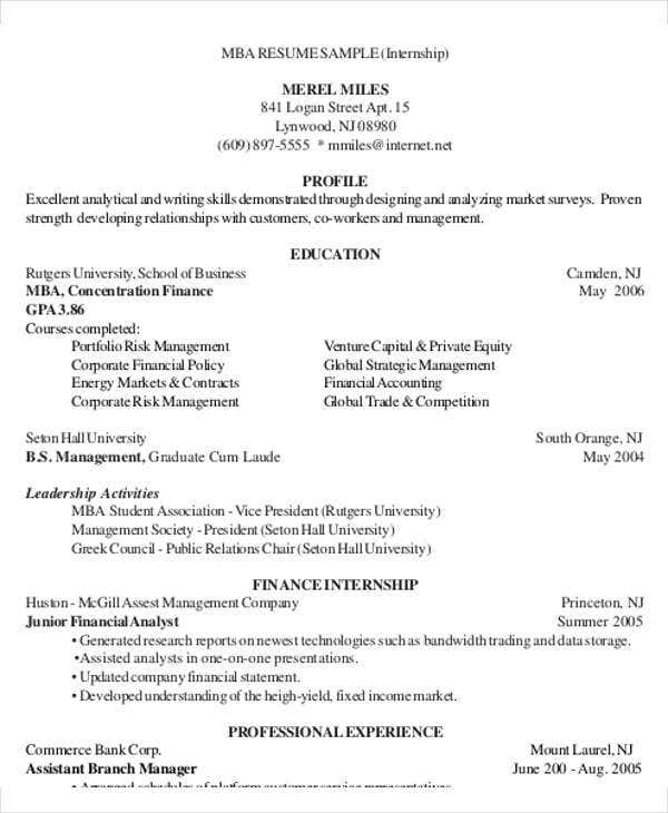 mba marketing and finance resume