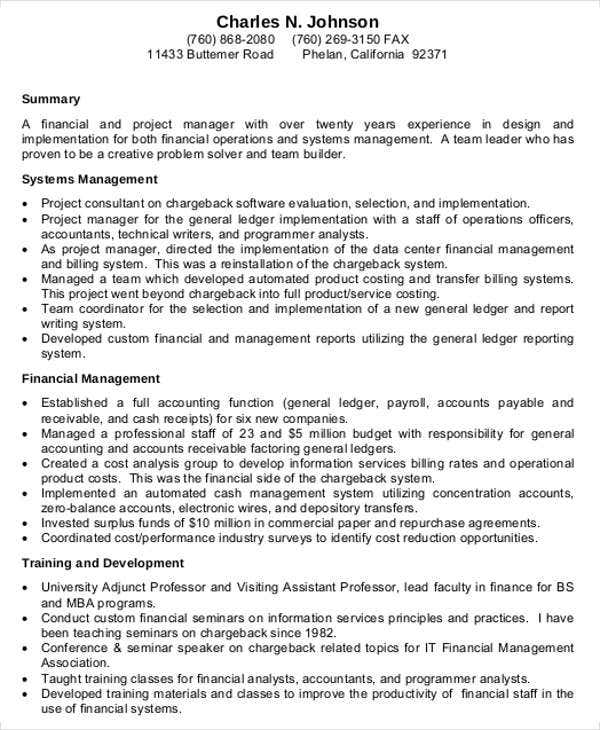 project finance manager resume