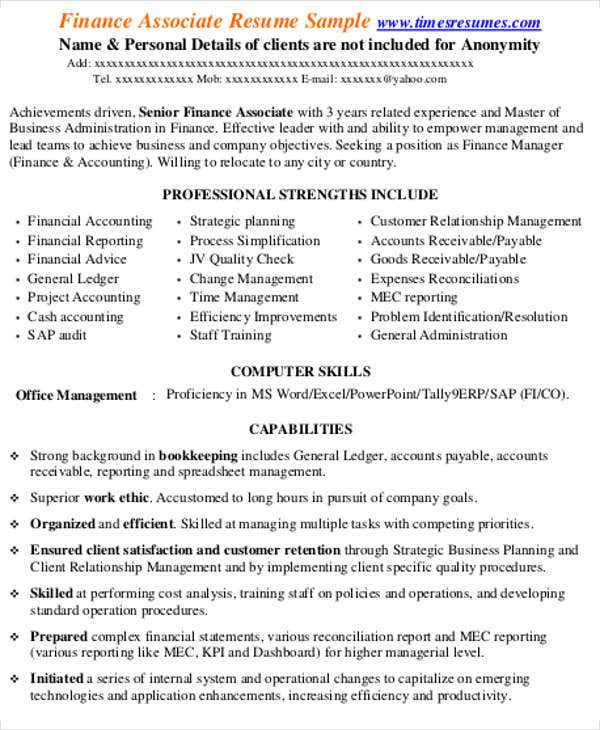 project finance associate resume2