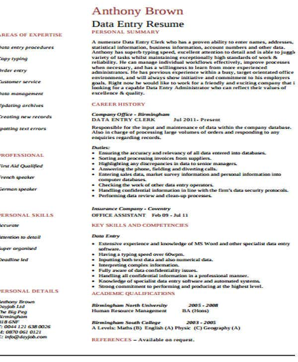 experienced data entry work resume