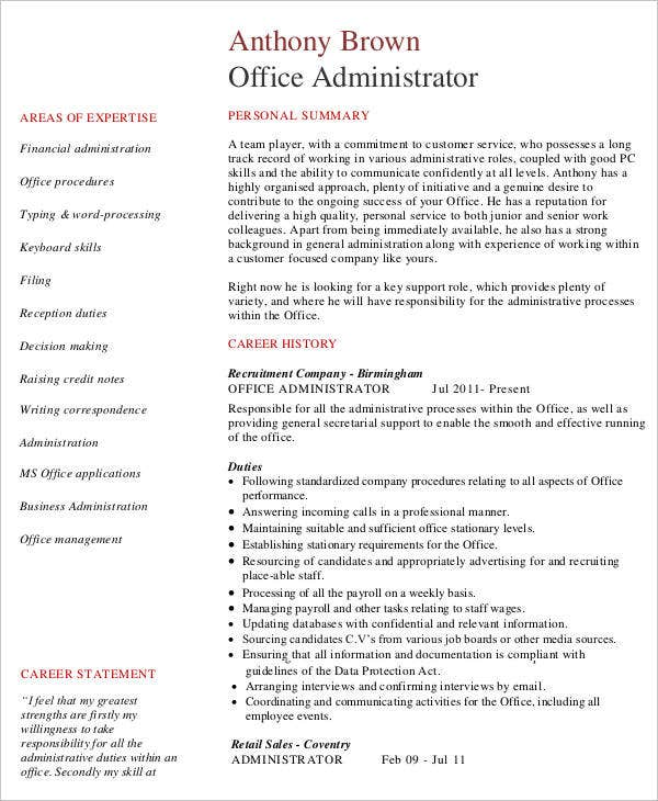 Business Office Administration Resume