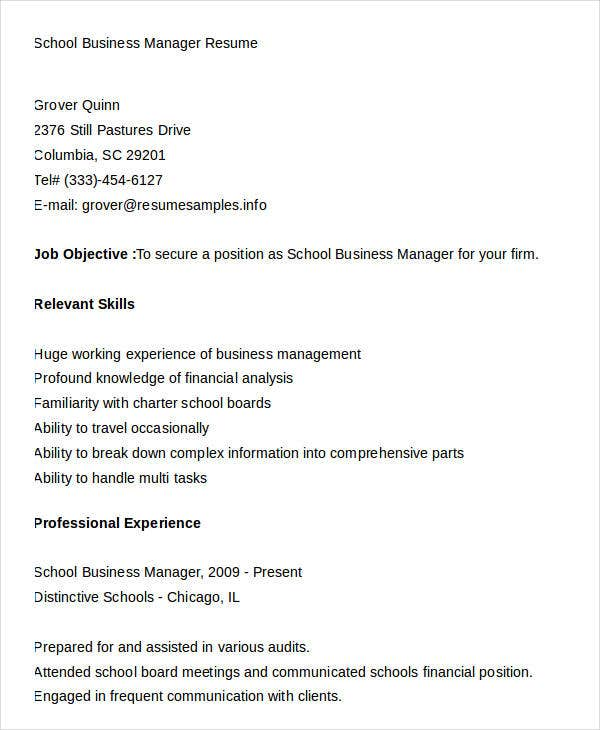 school business manager resume