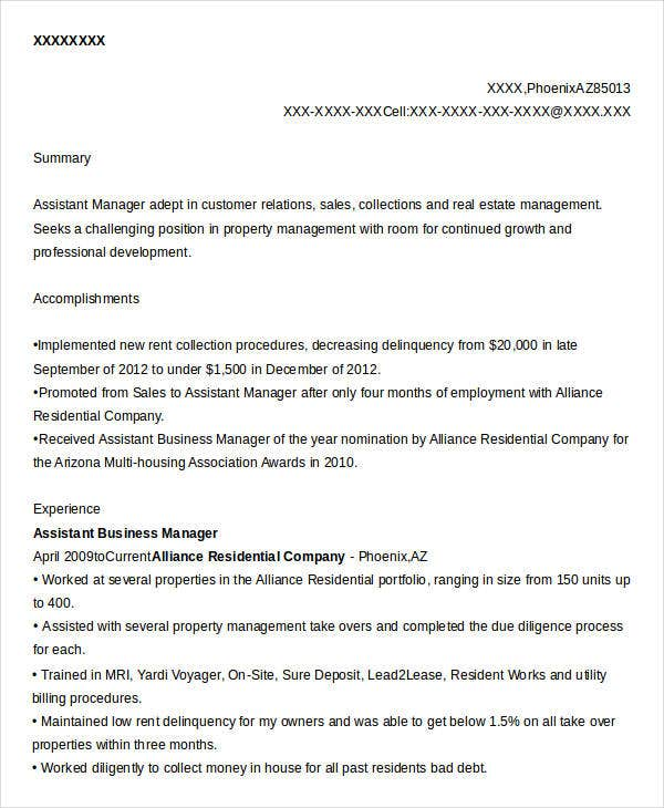 Assistant Business Manager Resume