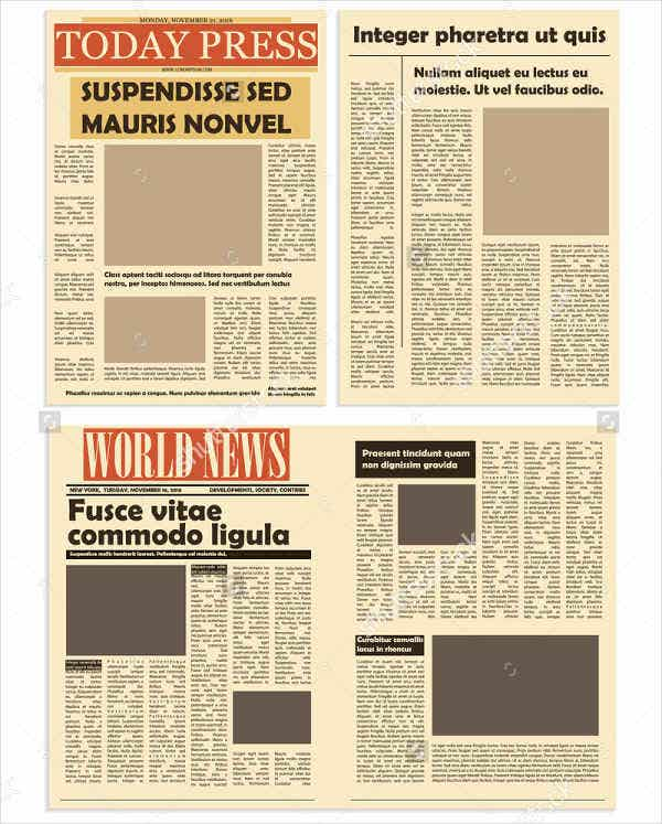 This is a graphic of Refreshing Free Printable Newspaper Template
