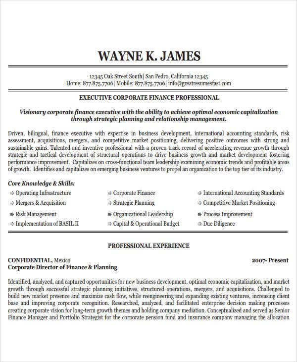 corporate finance resume