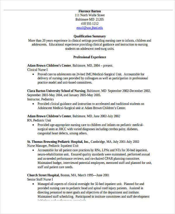 nursing work experience resume2