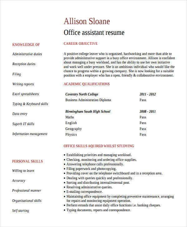office assistant work resume5