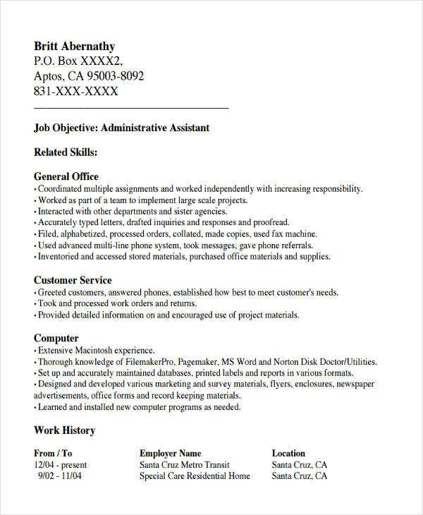 office work resume example
