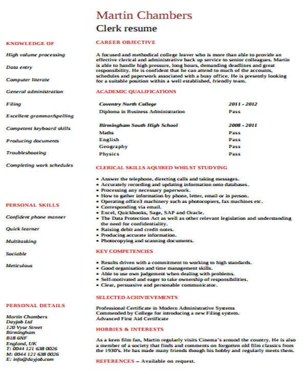 clerical office work resume2