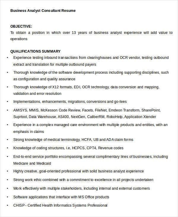 Business Analyst Consultant Resume