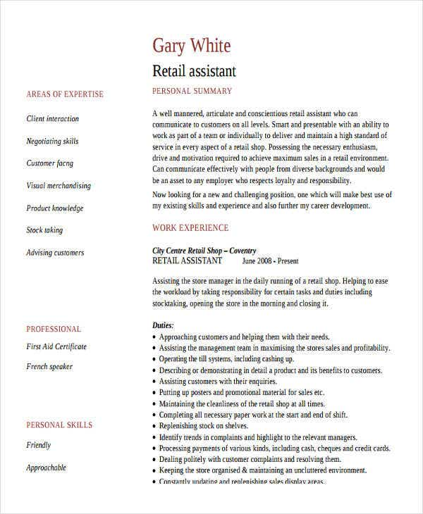 retail work assistant resume