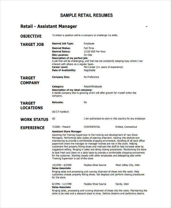 retail work resume in pdf1
