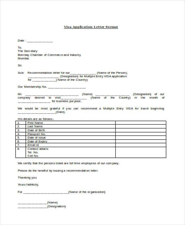 visa application letter format1