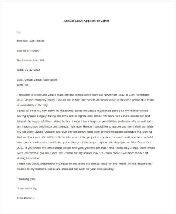 annual leave application letter3