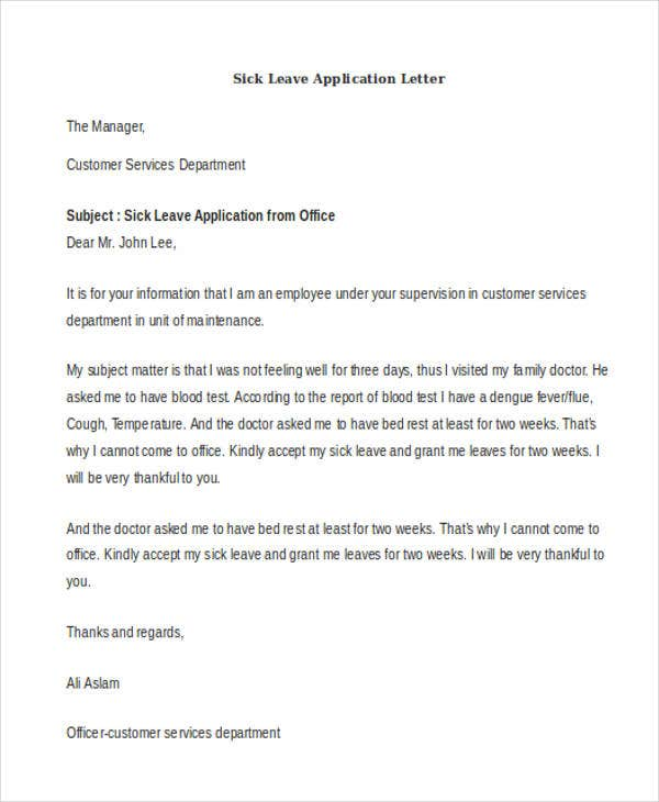 sick leave application letter We outlined few tips and format to help you write leave application letter for office or boss you can also use them to write an one day sick leave application for.