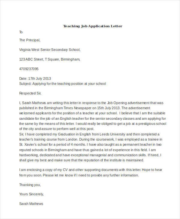 teaching job application letter4