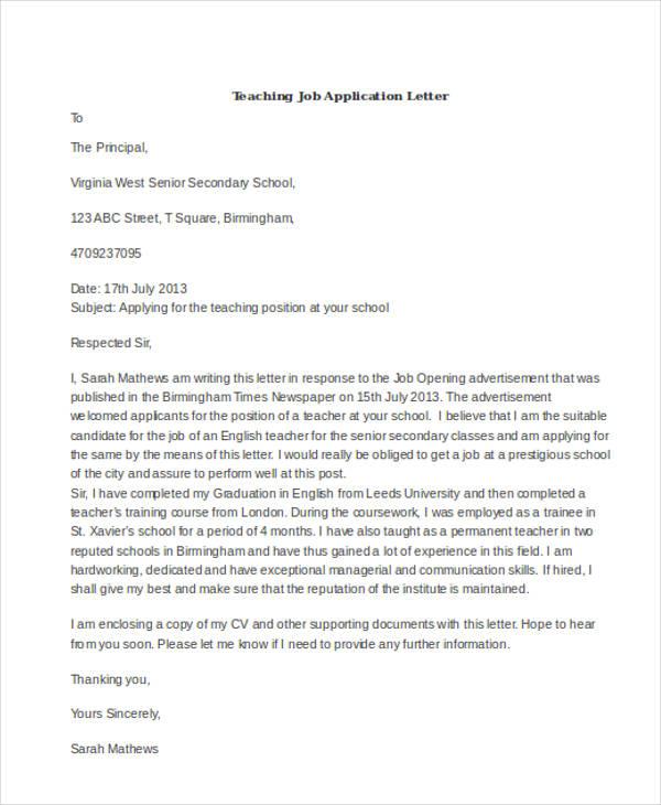 Application Letter For Teacher Vacancy Krys Tk